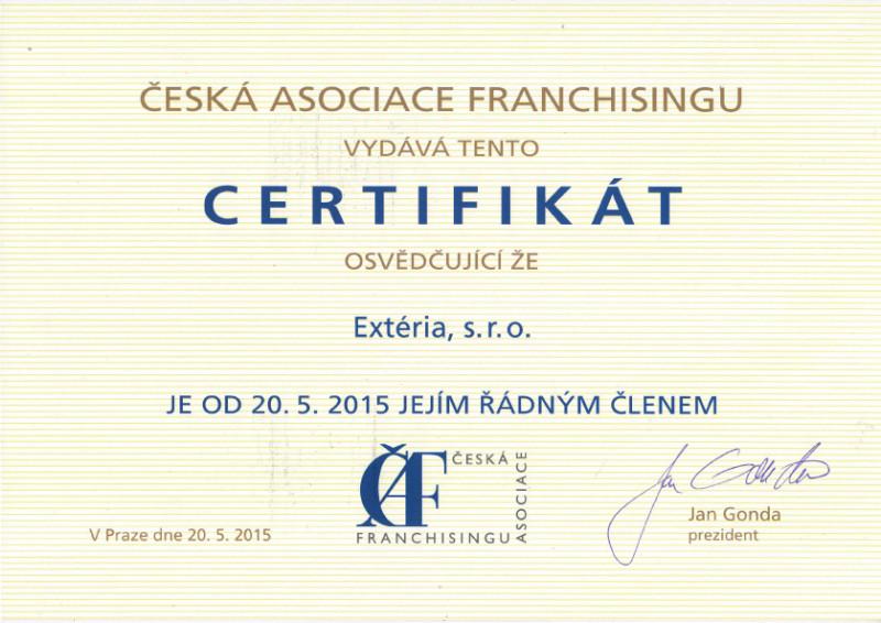Wir haben ein Mitglied des Tschechischen Franchising Verbandes