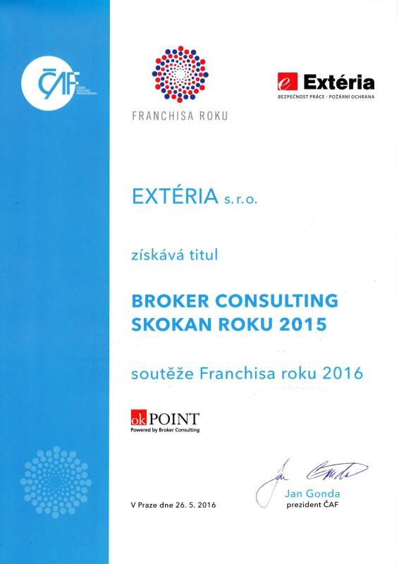 Tschechische Franchise Association ausgezeichnet mit dem Titel des Wettbewerbs Frachisa Jumper des Jahres 2015 Konzept EXTÉRIA die offenste Zweige für das Jahr in der Tschechischen Republik